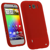 iGadgitz Red Silicone Skin Case Cover for HTC Sensation XL Android Smartphone Mobile Phone + Screen Protector