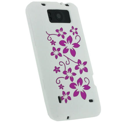 iGadgitz White & Pink Flowers Silicone Skin Case Cover for HTC Titan X310e + Screen Protector Thumbnail 3