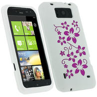 iGadgitz White & Pink Flowers Silicone Skin Case Cover for HTC Titan X310e + Screen Protector