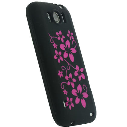 iGadgitz Black & Pink Flowers Silicone Skin Case Cover for HTC Sensation XL + Screen Protector Thumbnail 3