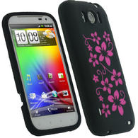 iGadgitz Black & Pink Flowers Silicone Skin Case Cover for HTC Sensation XL + Screen Protector