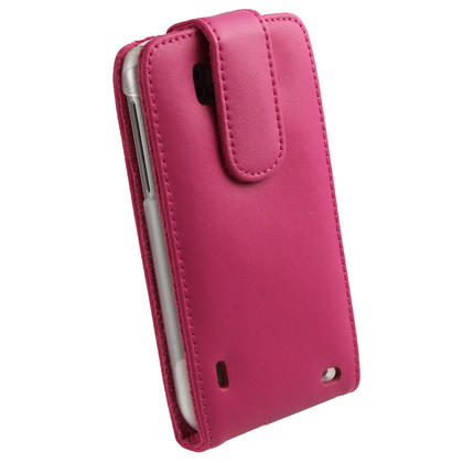 iGadgitz Pink Leather Case Cover Holder for HTC Sensation XL Android Smartphone Mobile Phone + Screen Protector Thumbnail 3