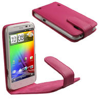 iGadgitz Pink Leather Case Cover Holder for HTC Sensation XL Android Smartphone Mobile Phone + Screen Protector