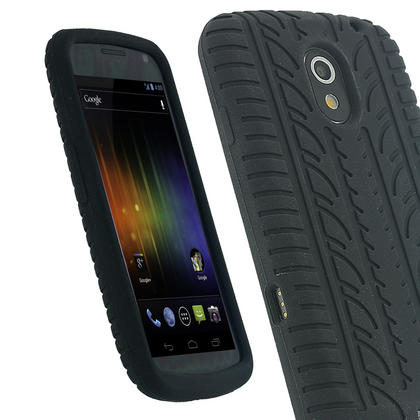 iGadgitz Black Silicone Skin Case Cover with Tyre Tread Design for Samsung Galaxy Nexus i9250 + Screen Protector Thumbnail 1
