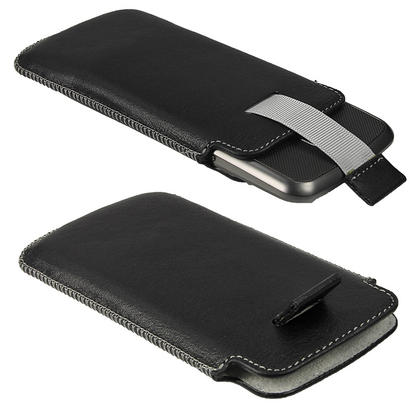 iGadgitz Black Genuine Leather Pouch Case Cover for LG Google Nexus 4 E960 Android Smartphone Mobile Phone Thumbnail 3