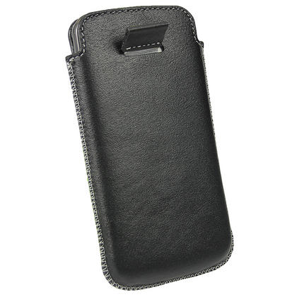 iGadgitz Black Genuine Leather Pouch Case Cover for LG Google Nexus 4 E960 Android Smartphone Mobile Phone Thumbnail 5