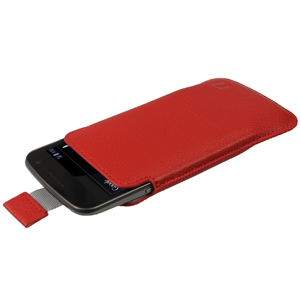 iGadgitz Red Leather Pouch Case Cover for Samsung Galaxy Nexus i9250 & LG Google Nexus 4 E960 Android Smartphone