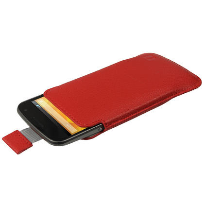 iGadgitz Red Leather Pouch Case Cover for Samsung Galaxy Nexus i9250 & LG Google Nexus 4 E960 Android Smartphone Thumbnail 2