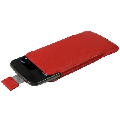 iGadgitz Red Leather Pouch Case Cover for Samsung Galaxy Nexus i9250 & LG Google Nexus 4 E960 Android Smartphone Thumbnail 1