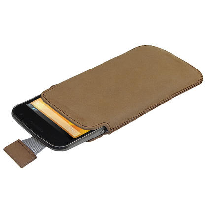 iGadgitz Brown Leather Pouch Case Cover for Samsung Galaxy Nexus i9250 & LG Google Nexus 4 Android Smartphone Thumbnail 1