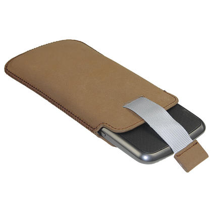 iGadgitz Brown Leather Pouch Case Cover for Samsung Galaxy Nexus i9250 & LG Google Nexus 4 Android Smartphone Thumbnail 3