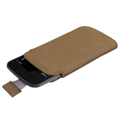 iGadgitz Brown Leather Pouch Case Cover for Samsung Galaxy Nexus i9250 & LG Google Nexus 4 Android Smartphone Thumbnail 2