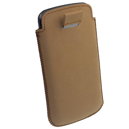 iGadgitz Brown Leather Pouch Case Cover for Samsung Galaxy Nexus i9250 & LG Google Nexus 4 Android Smartphone Thumbnail 6
