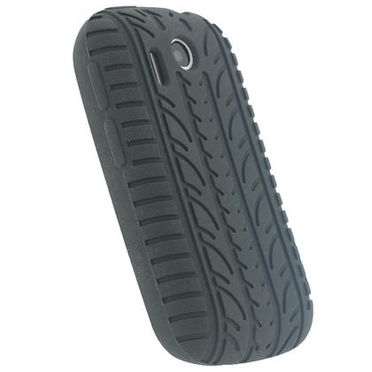 iGadgitz Black Silicone Skin Case Cover with Tyre Tread Design for HTC Explorer A310e + Screen Protector Thumbnail 3