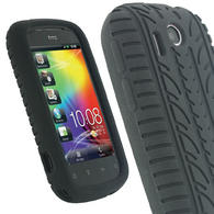 iGadgitz Black Silicone Skin Case Cover with Tyre Tread Design for HTC Explorer A310e + Screen Protector