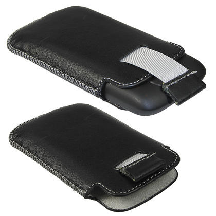 iGadgitz Black Genuine Leather Pouch Case Cover for HTC Explorer A310e Android Smartphone Mobile Phone Thumbnail 2