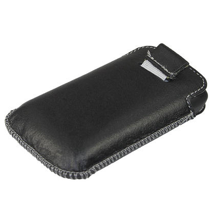 iGadgitz Black Genuine Leather Pouch Case Cover for HTC Explorer A310e Android Smartphone Mobile Phone Thumbnail 3
