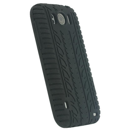 iGadgitz Black Silicone Skin Case Cover with Tyre Tread Design for HTC Sensation XL + Screen Protector Thumbnail 3