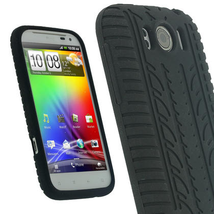 iGadgitz Black Silicone Skin Case Cover with Tyre Tread Design for HTC Sensation XL + Screen Protector Thumbnail 1
