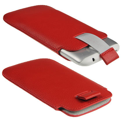 iGadgitz Red Leather Pouch Case Cover for HTC Sensation XL Android Smartphone Mobile Phone Thumbnail 2