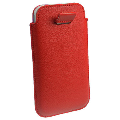 iGadgitz Red Leather Pouch Case Cover for HTC Sensation XL Android Smartphone Mobile Phone Thumbnail 4