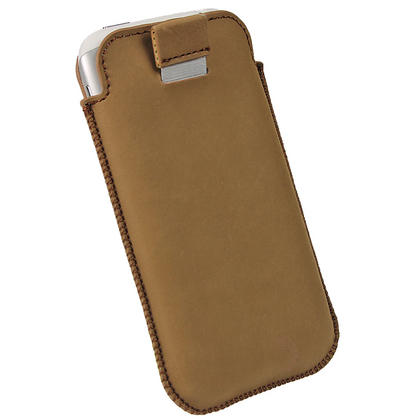 iGadgitz Brown Genuine Leather Pouch Case Cover for HTC Sensation XL Android Smartphone Mobile Phone Thumbnail 4