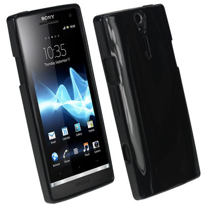iGadgitz Black Glossy Gel Case for Sony Xperia S + Screen Protector Thumbnail 1