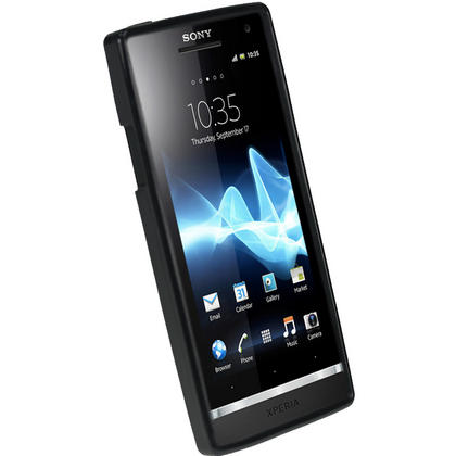 iGadgitz Black Glossy Gel Case for Sony Xperia S + Screen Protector Thumbnail 2
