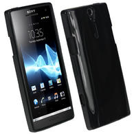 iGadgitz Black Glossy Gel Case for Sony Xperia S + Screen Protector