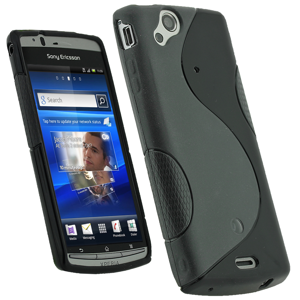 iGadgitz Dual Tone Black Gel Case for Sony Ericsson Xperia Arc S + Screen Protector