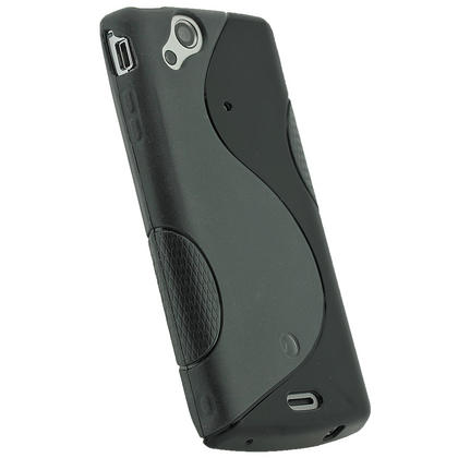 iGadgitz Dual Tone Black Gel Case for Sony Ericsson Xperia Arc S + Screen Protector Thumbnail 3