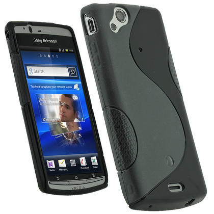 iGadgitz Dual Tone Black Gel Case for Sony Ericsson Xperia Arc S + Screen Protector Thumbnail 1