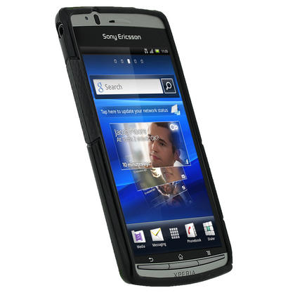 iGadgitz Dual Tone Black Gel Case for Sony Ericsson Xperia Arc S + Screen Protector Thumbnail 2