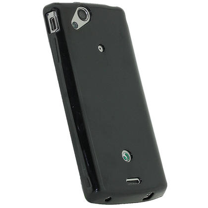 iGadgitz Black Glossy Gel Case for Sony Ericsson Xperia Arc S + Screen Protector Thumbnail 3