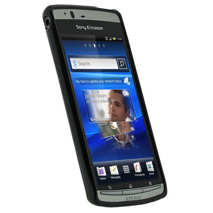 iGadgitz Black Glossy Gel Case for Sony Ericsson Xperia Arc S + Screen Protector Thumbnail 2