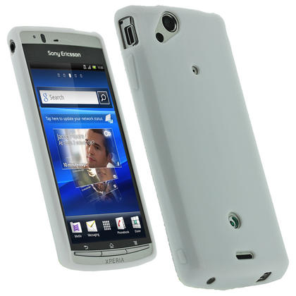 iGadgitz White Glossy Gel Case for Sony Ericsson Xperia Arc S + Screen Protector Thumbnail 1