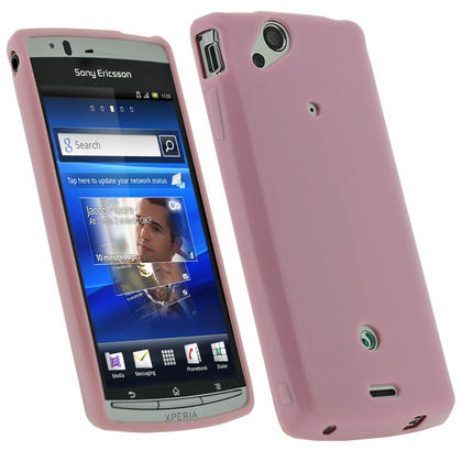 iGadgitz Pink Glossy Gel Case for Sony Ericsson Xperia Arc S + Screen Protector Thumbnail 1