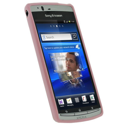 iGadgitz Pink Glossy Gel Case for Sony Ericsson Xperia Arc S + Screen Protector Thumbnail 2