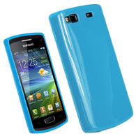 iGadgitz Blue Glossy Gel Case for Samsung Wave 3 Bada 2.0 S8600 + Screen Protector