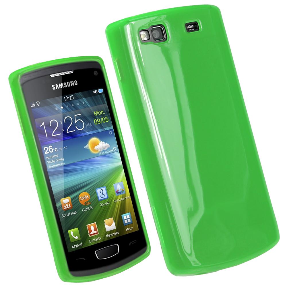 iGadgitz Green Glossy Gel Case for Samsung Wave 3 Bada 2.0 S8600 + Screen Protector