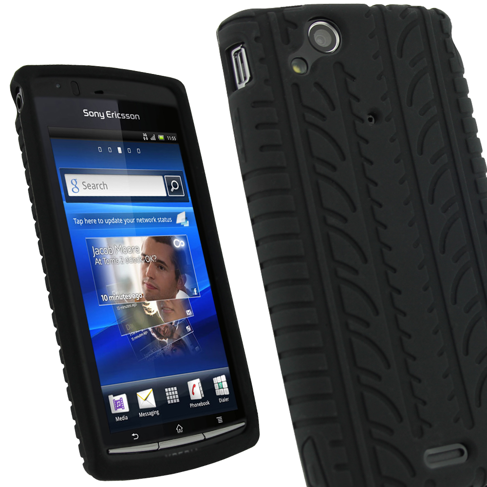 iGadgitz Black Silicone Skin Case Cover with Tyre Tread Design for Sony Ericsson Xperia Arc S + Screen Protector