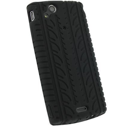 iGadgitz Black Silicone Skin Case Cover with Tyre Tread Design for Sony Ericsson Xperia Arc S + Screen Protector Thumbnail 3