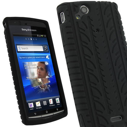 iGadgitz Black Silicone Skin Case Cover with Tyre Tread Design for Sony Ericsson Xperia Arc S + Screen Protector Thumbnail 1