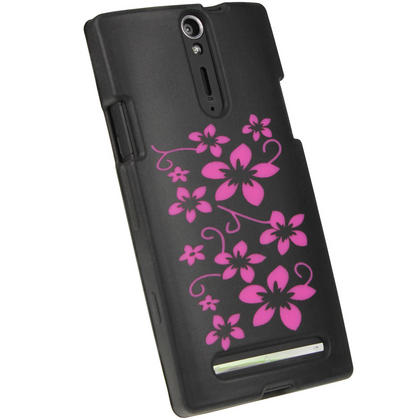 iGadgitz Black & Pink Flowers Silicone Skin Case Cover for Sony Xperia S + Screen Protector Thumbnail 3