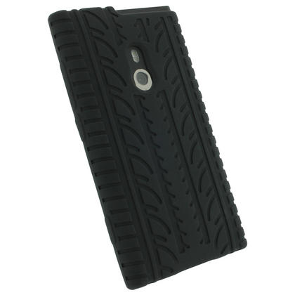 iGadgitz Black Silicone Skin Case Cover with Tyre Tread Design for Nokia Lumia 800 + Screen Protector Thumbnail 3