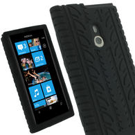 iGadgitz Black Silicone Skin Case Cover with Tyre Tread Design for Nokia Lumia 800 + Screen Protector
