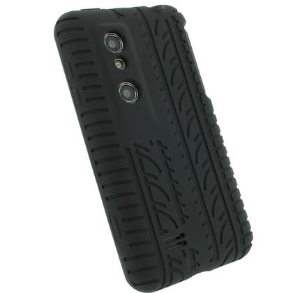 iGadgitz Black Silicone Skin Case Cover with Tyre Tread Design for LG Optimus 3D P920 + Screen Protector Thumbnail 3
