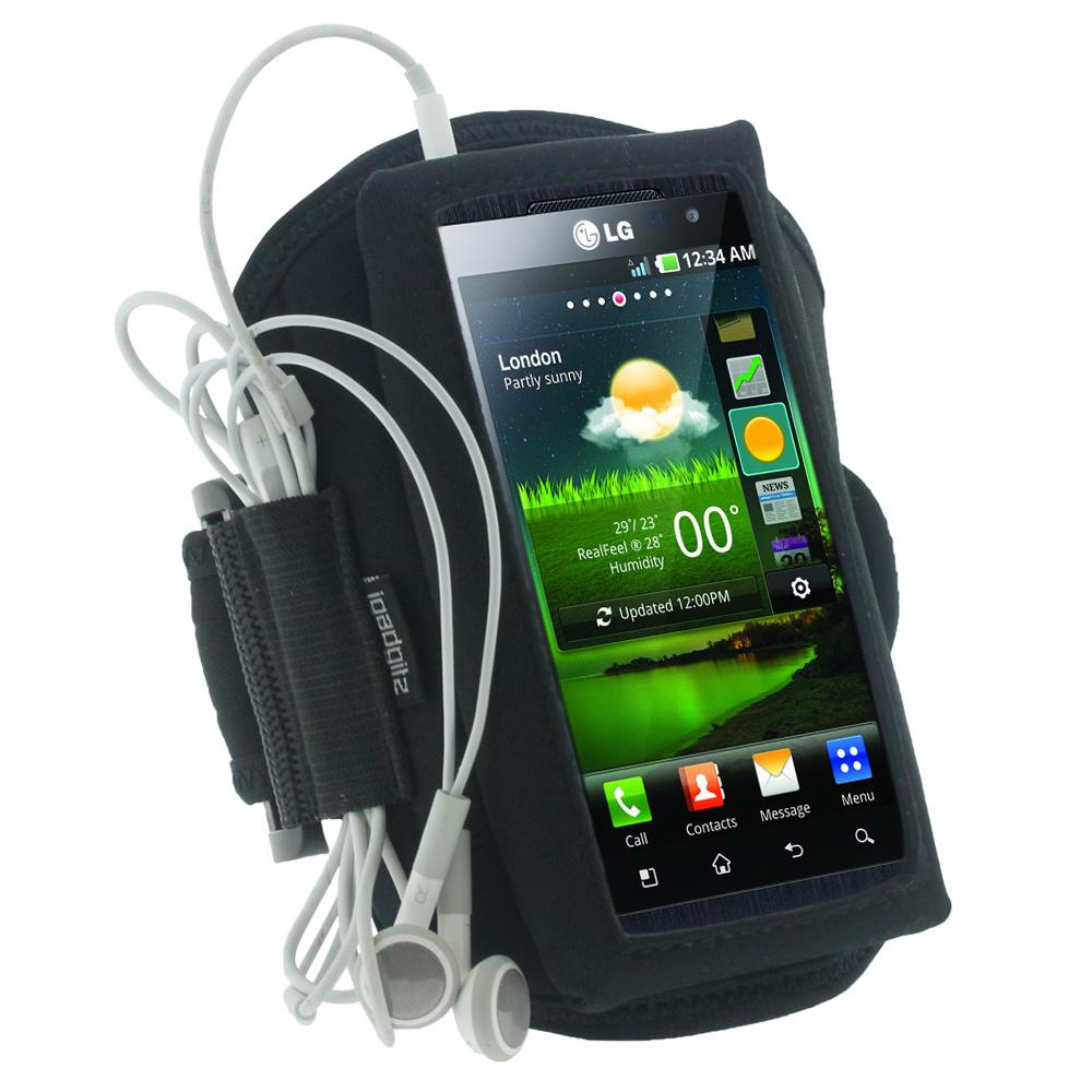 iGadgitz Black Water Resistant Neoprene Sports Armband for LG Optimus 3D P920