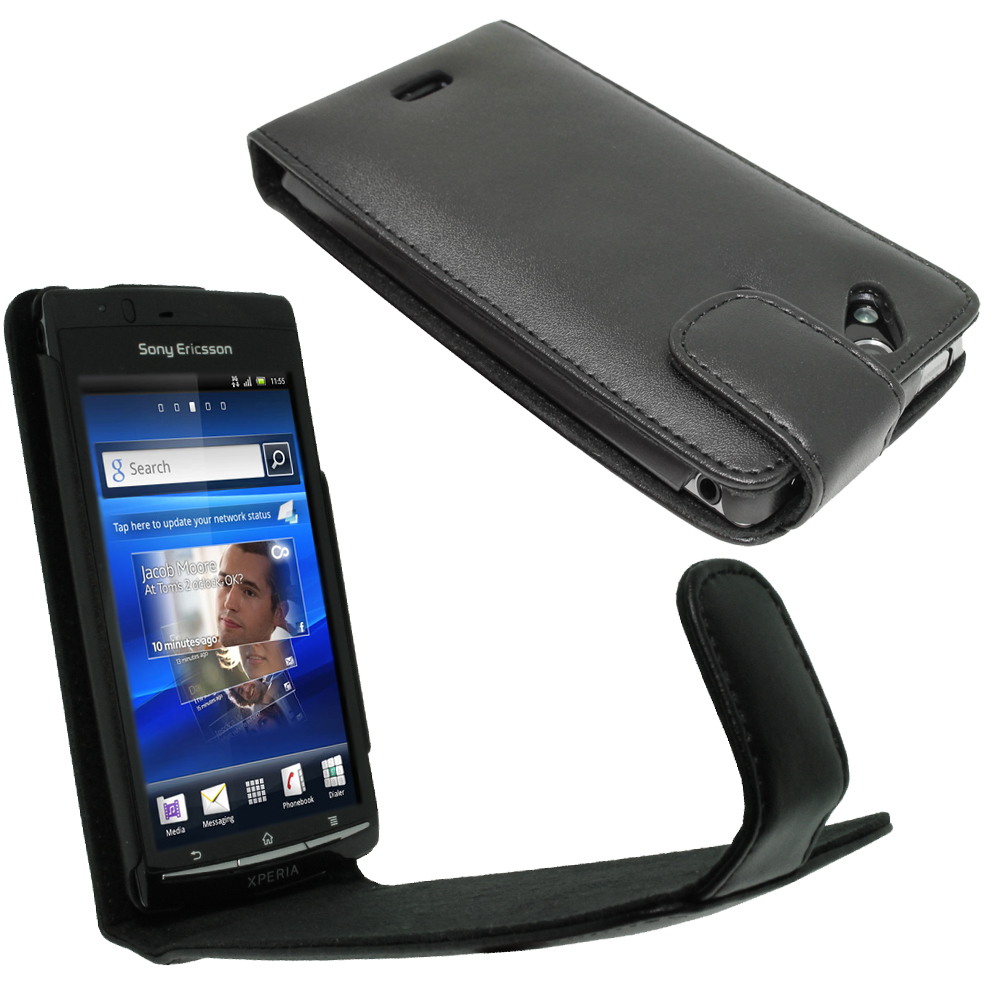 iGadgitz Black Leather Case Cover Holder for Sony Ericsson Xperia Arc S + Screen Protector