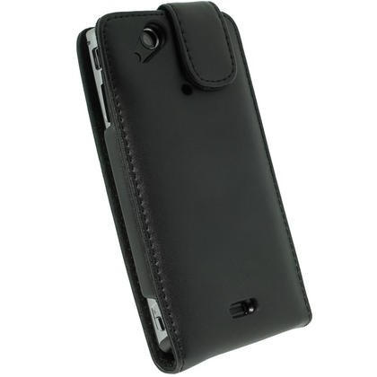 iGadgitz Black Leather Case Cover Holder for Sony Ericsson Xperia Arc S + Screen Protector Thumbnail 3